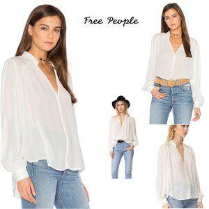 Free People Boho Canyon Rose White Blouse Top Sz S